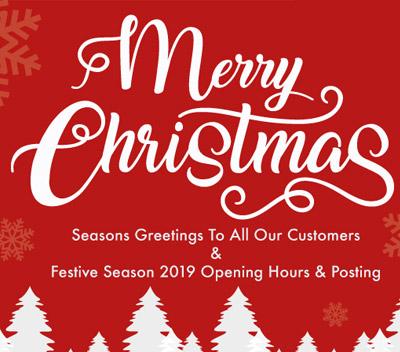 Festive Season 2019 Opening Hours & Posting Details