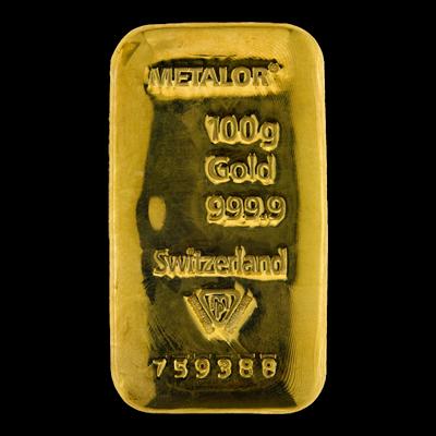 Metalor 100 Gram Cast Gold Bar 100g Gold Bar Uk Bullion