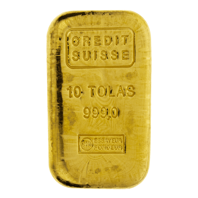 Credit Suisse 10 Tola Cast Gold Bar 10t Cast Gold Bar