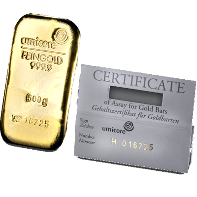 Umicore 500 Gram Cast Gold Bar 500g Cast Gold Bar Uk
