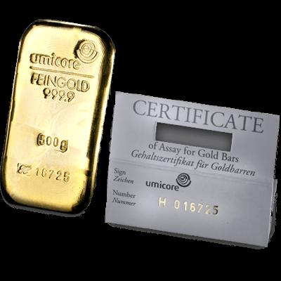 Umicore 500 Gram Cast Gold Bar 500g Cast Gold Bar Uk