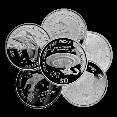 Six Ounce Silver Star Trek Ships Coin Set 999 0