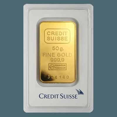 Credit Suisse 50 Gram Minted Gold Bar