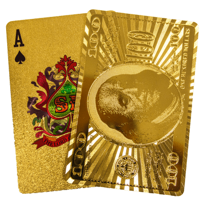 Gold Coloured Playing Cards With 100 Note Design Ukbullion