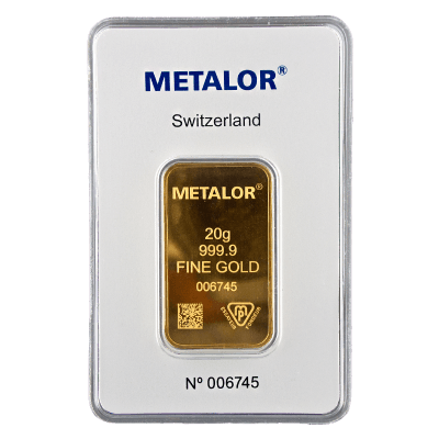 20 Gram Gold Bar Metalor