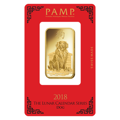Pamp 1 Ounce 2017 Lunar Dog Gold Bar 1oz Gold Bar Uk
