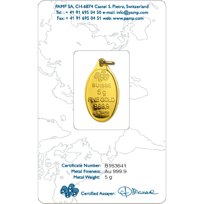Pamp 5 Gram Rosa Oval Gold Investment Bar 5g Oval Gold