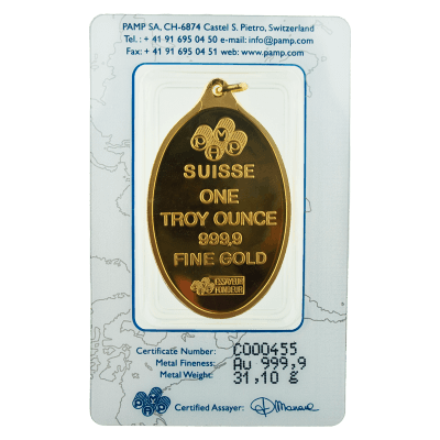 Pamp 20 Gram Rosa Oval Gold Investment Bar 20g Oval Gold