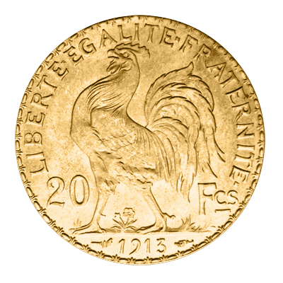 French 20 Francs Gold Rooster Coin