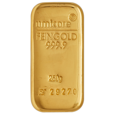 Umicore 250 Gram Cast Gold Bar 250g Cast Gold Bar