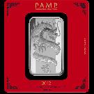PAMP 100 Gram Lunar Dragon Silver Certicard Bar