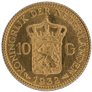 Netherlands 10 Guilders Gold Coin 900.0