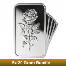 100g Silver Bar Bundle - Emirates 5x 20g Boxed - CLEARANCE