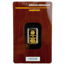 2 Gram Gold Bar Argor Heraeus Certicard