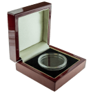 Premium Luxury Single Coin Mahogany Presentation Box