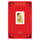 2018 5 Gram Gold Bar PAMP Lunar Dog Certicard