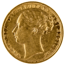 1871-1887 Gold Full Sovereign (Victoria, Young Head)