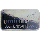 Umicore 100 Gram Platinum Bar 999.5