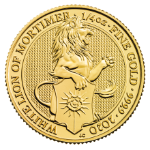 2020 Gold 1/4oz Queen's Beasts (White Lion of Mortimer)