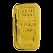 10 Tola Cast Gold Bar Credit Suisse
