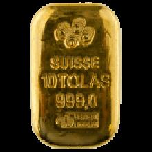 10 Tola Cast Gold Bar | PAMP Suisse