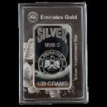 100 Gram Silver Bar Boxed Emirates Gold Rose