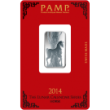 PAMP 10 Gram Lunar Horse Silver Certicard Bar