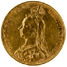 1887-1893 Gold Full Sovereign (Victoria, Jubilee Head)