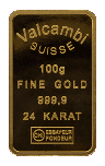 Valcambi Suisse 100g Gold Bar back