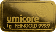Umicore 1 Gram Gold Bar