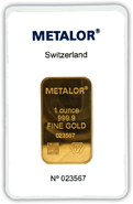 Metalor 1oz Gold Minted Bar
