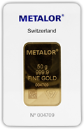 Metalor 50g Gold Minted Bar